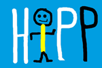 HIPP-logo: Stick figure and handwritten letters H P P make together HIPP (the stick figure is the letter i too). In details: H and the first P are white, the last P is black. The stick figure has a yellow body and the rest is black.